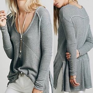 Free People Sunset Park Long Sleeved Thermal: Grey
